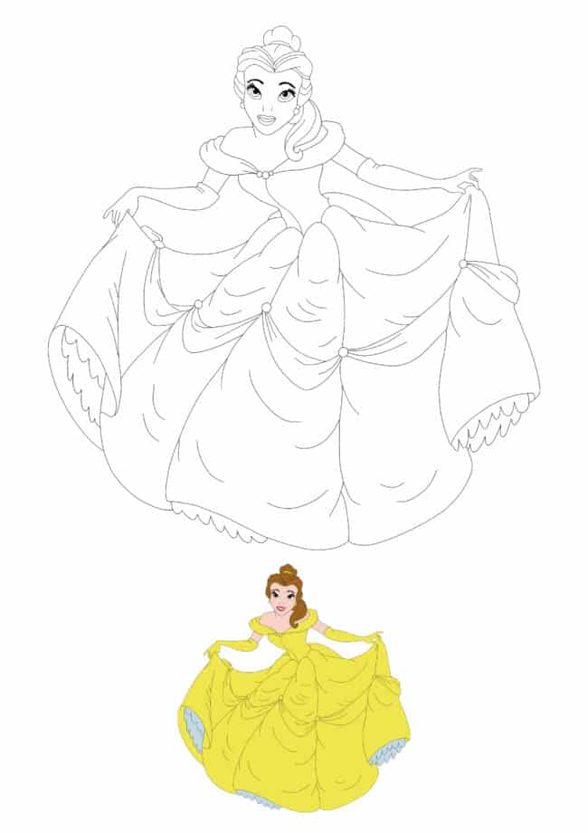 Disney Princess Belle coloring page with sample