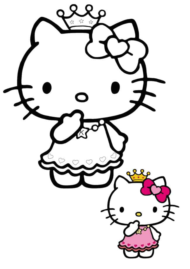 Hello Kitty Princess coloring page with sample