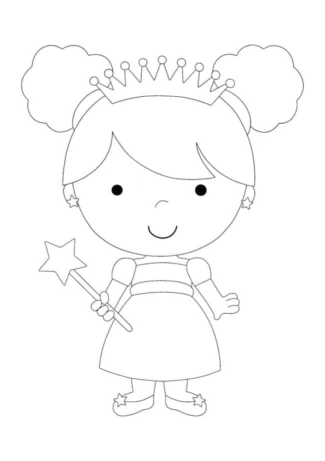 Coloriage Princesse Kawaii