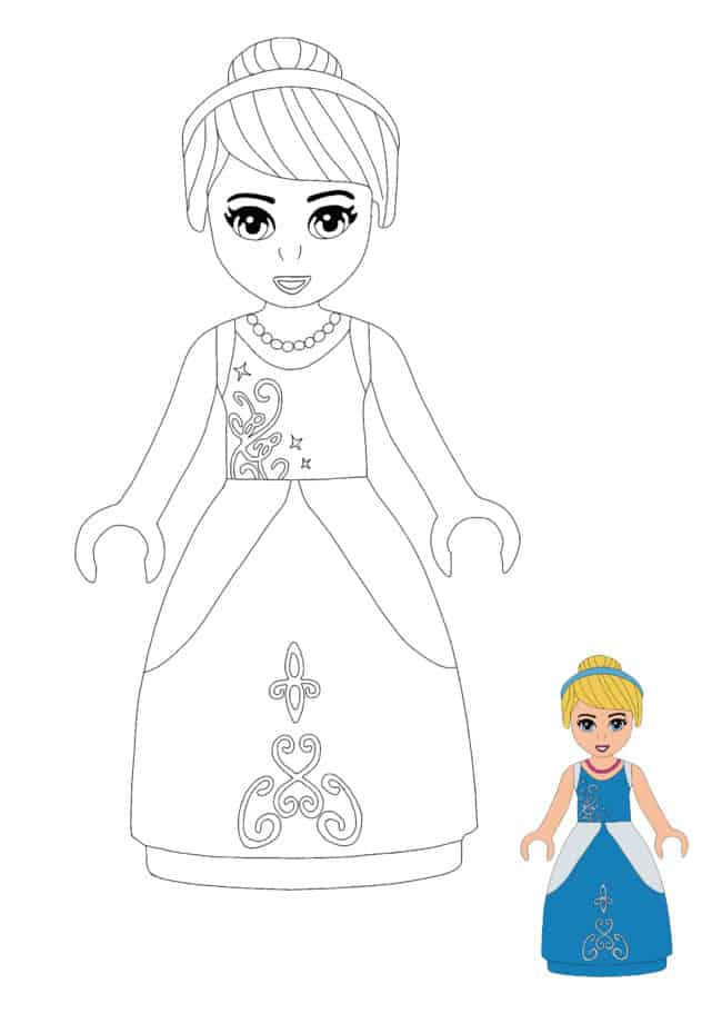 Lego Princess Cinderella easy coloring page for kids