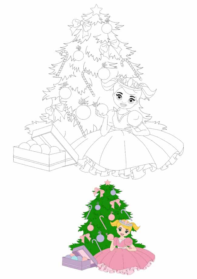 Little Princess Decorating Christmas Tree coloring page with coloring preview