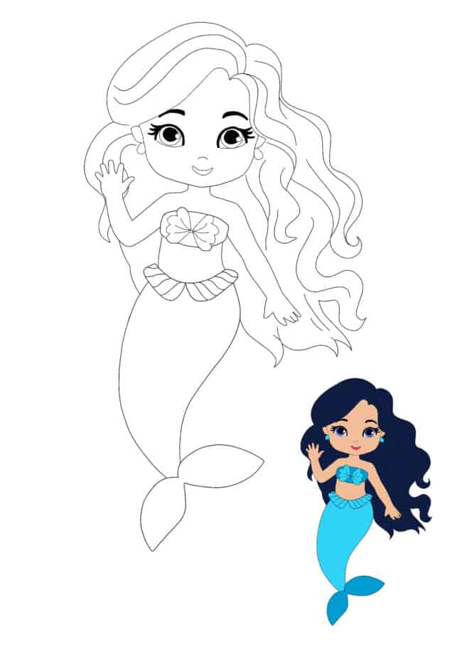 Mermaid Princess coloring page for boys and girls