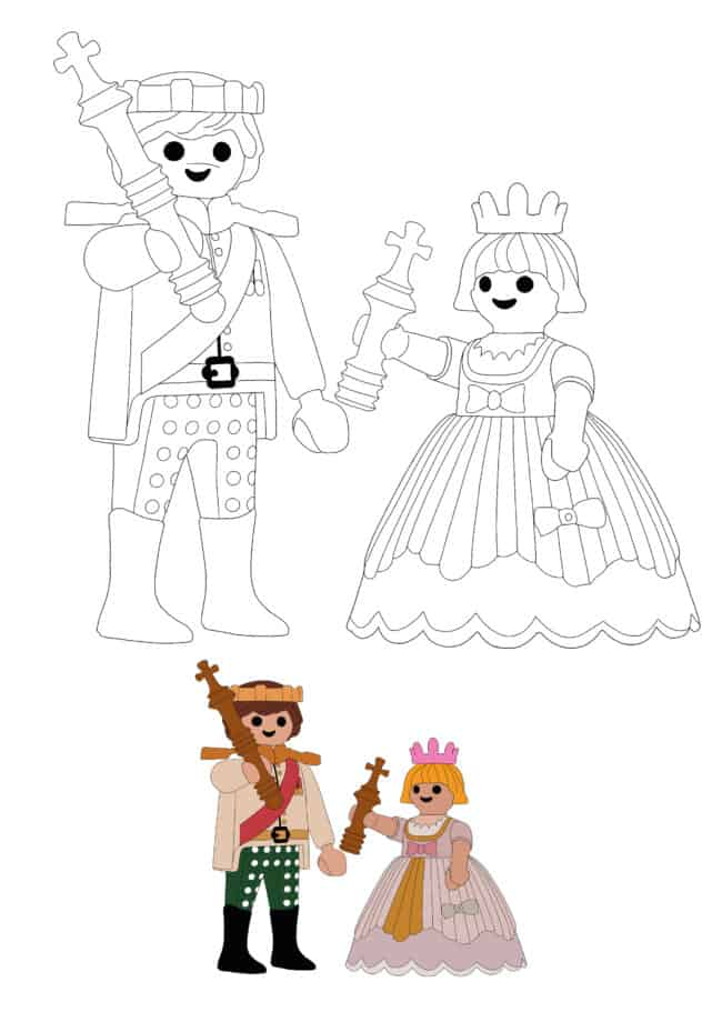 Playmobil Prince and Princess coloring page with sample