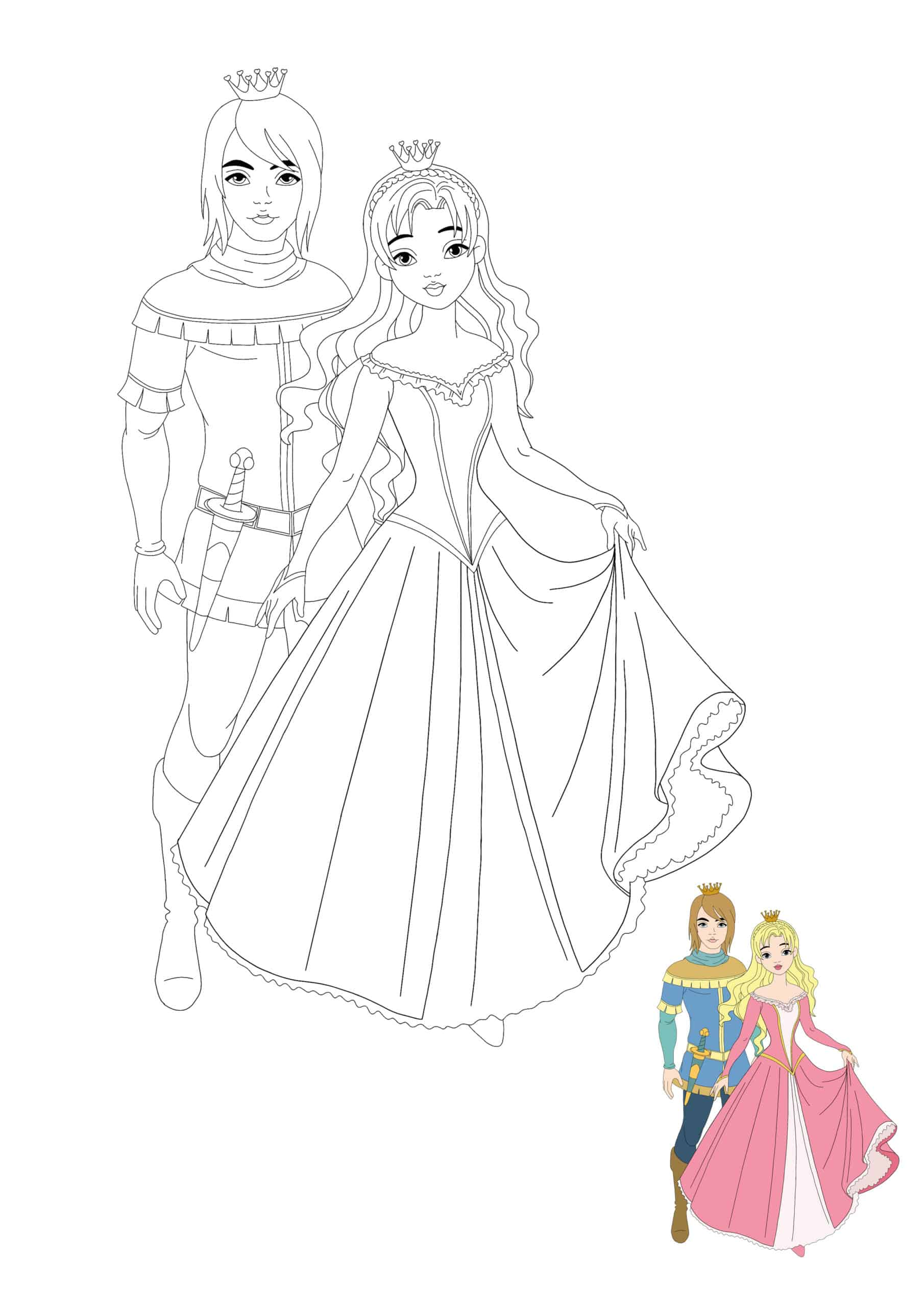 Prince and Princess colouring page