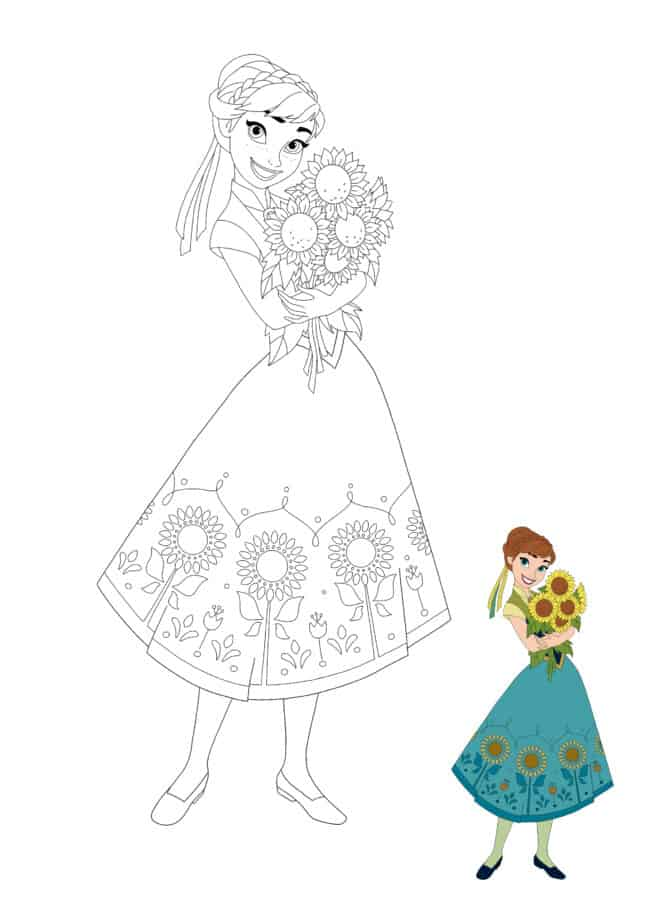 Princess Anna from Frozen with Sunflowers coloring page