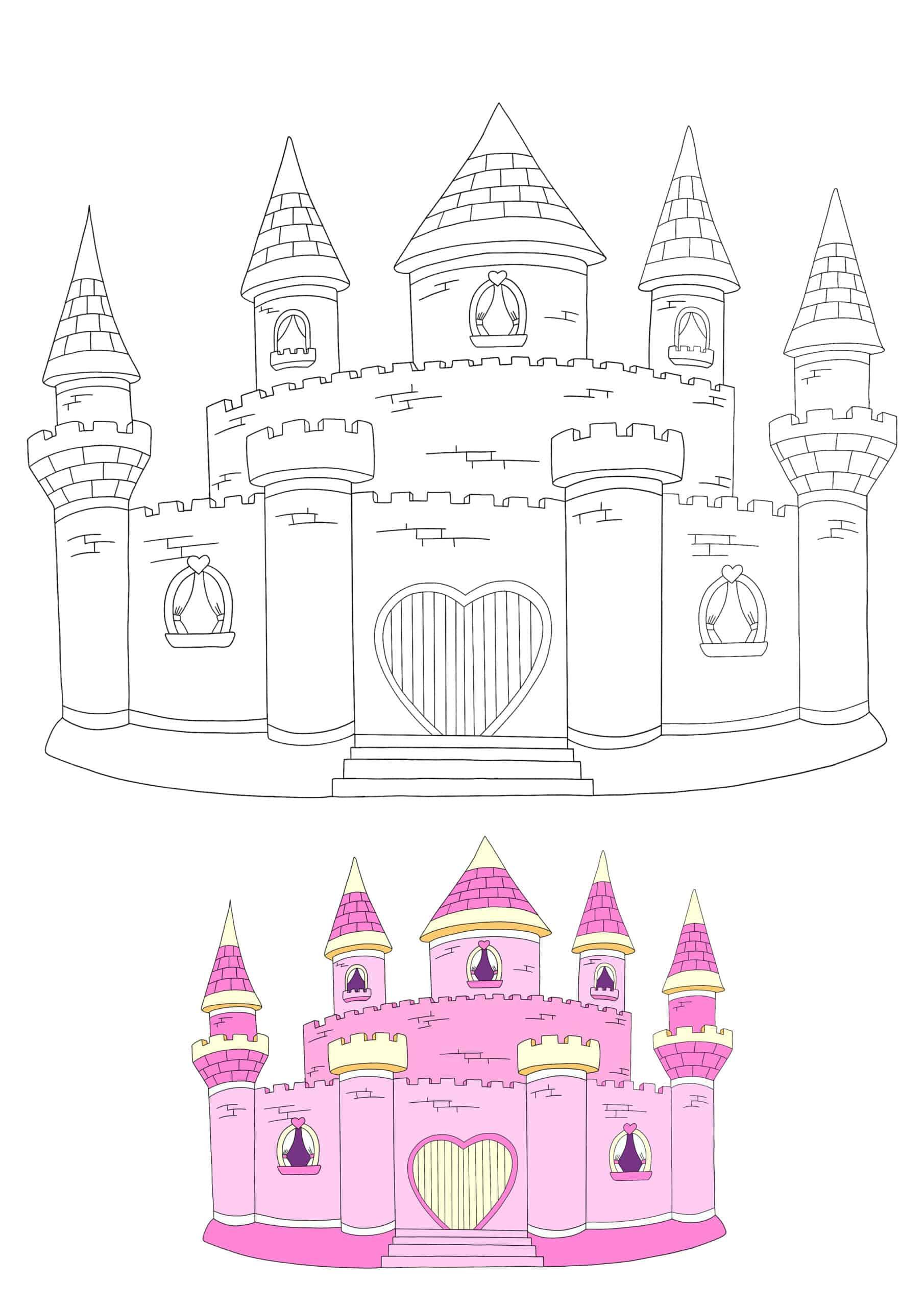 Princess Castle hard coloring page