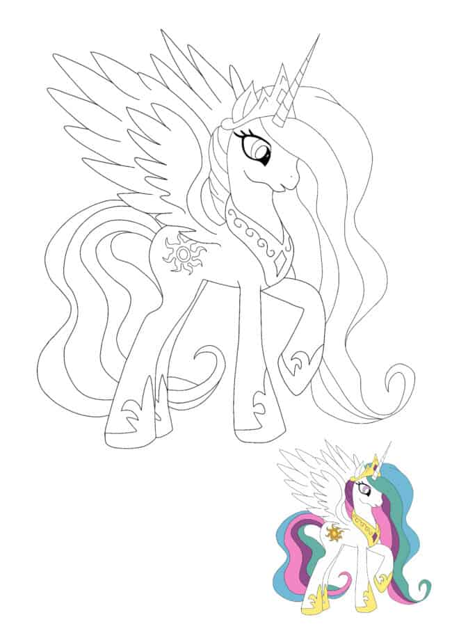 Coloriage My Little Pony Princesse Celestia