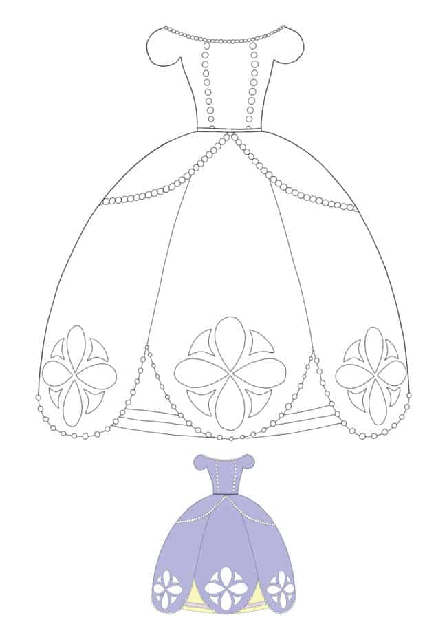 Princess Dress coloring page with sample