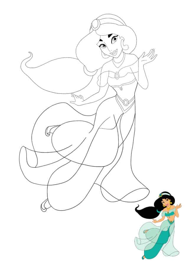 Princess Jasmine coloring page for kids