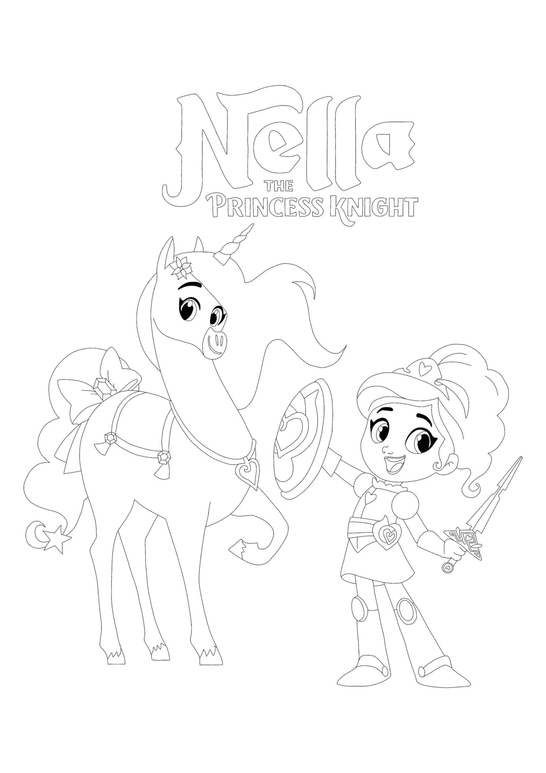 Princess Nella and Unicorn Trinket coloring page