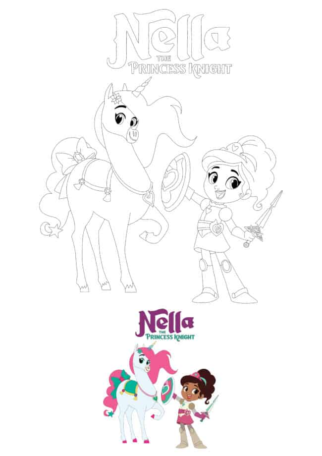 Princess Nella and Unicorn Trinket coloring page for boys and girls
