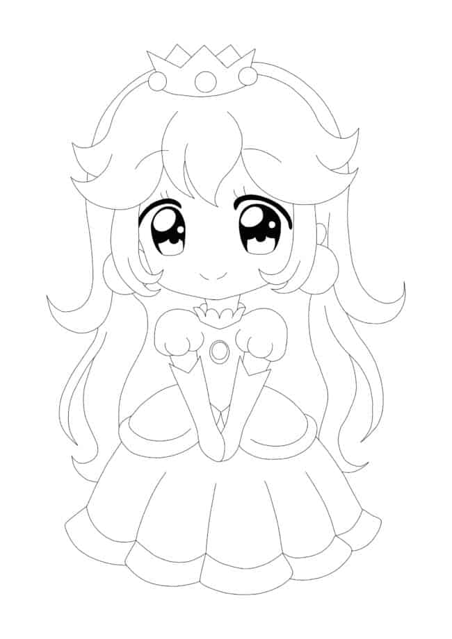 Coloriage Princesse Peach Anime