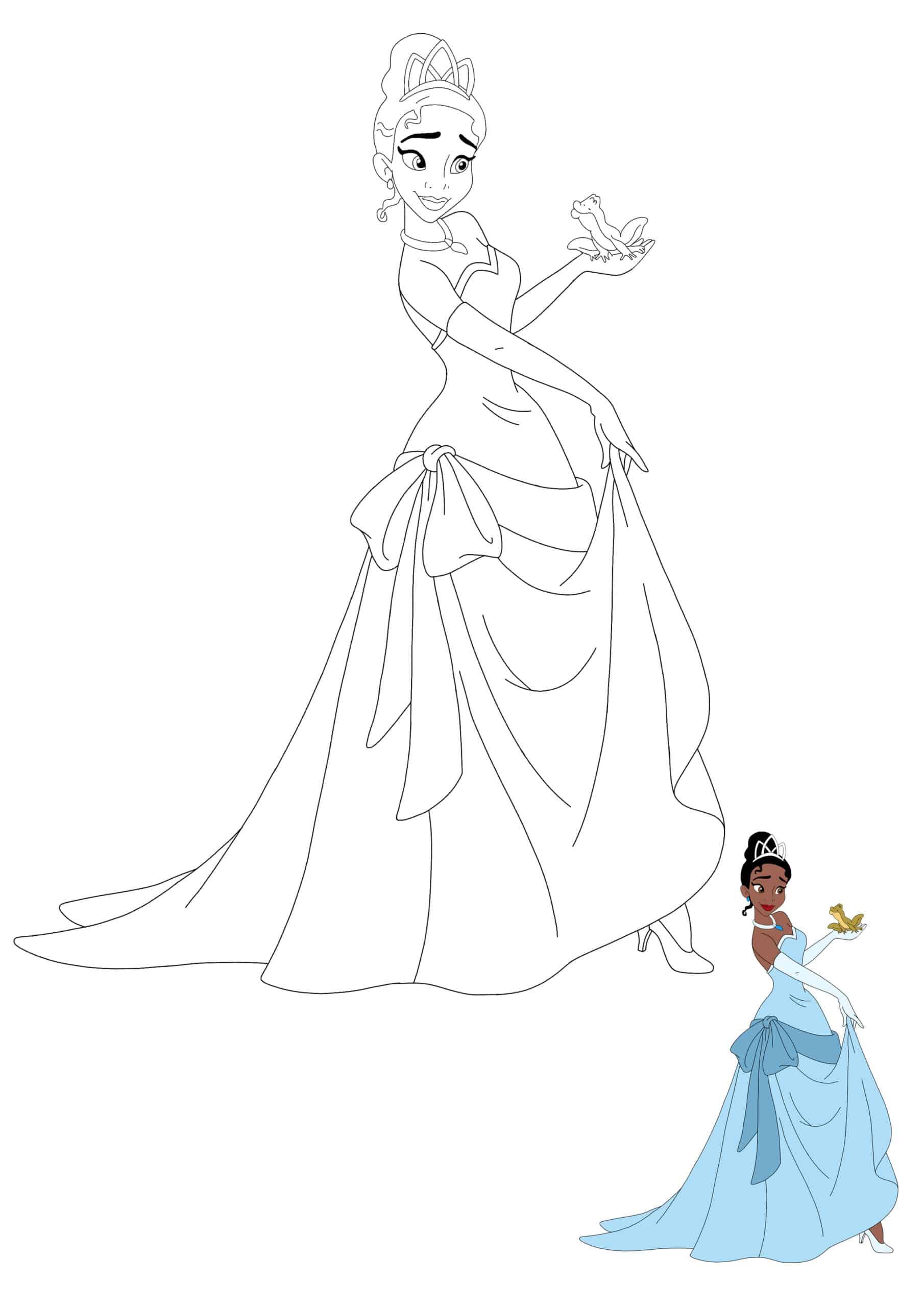 Princess Tiana And Prince Naveen As a Frog colouring page