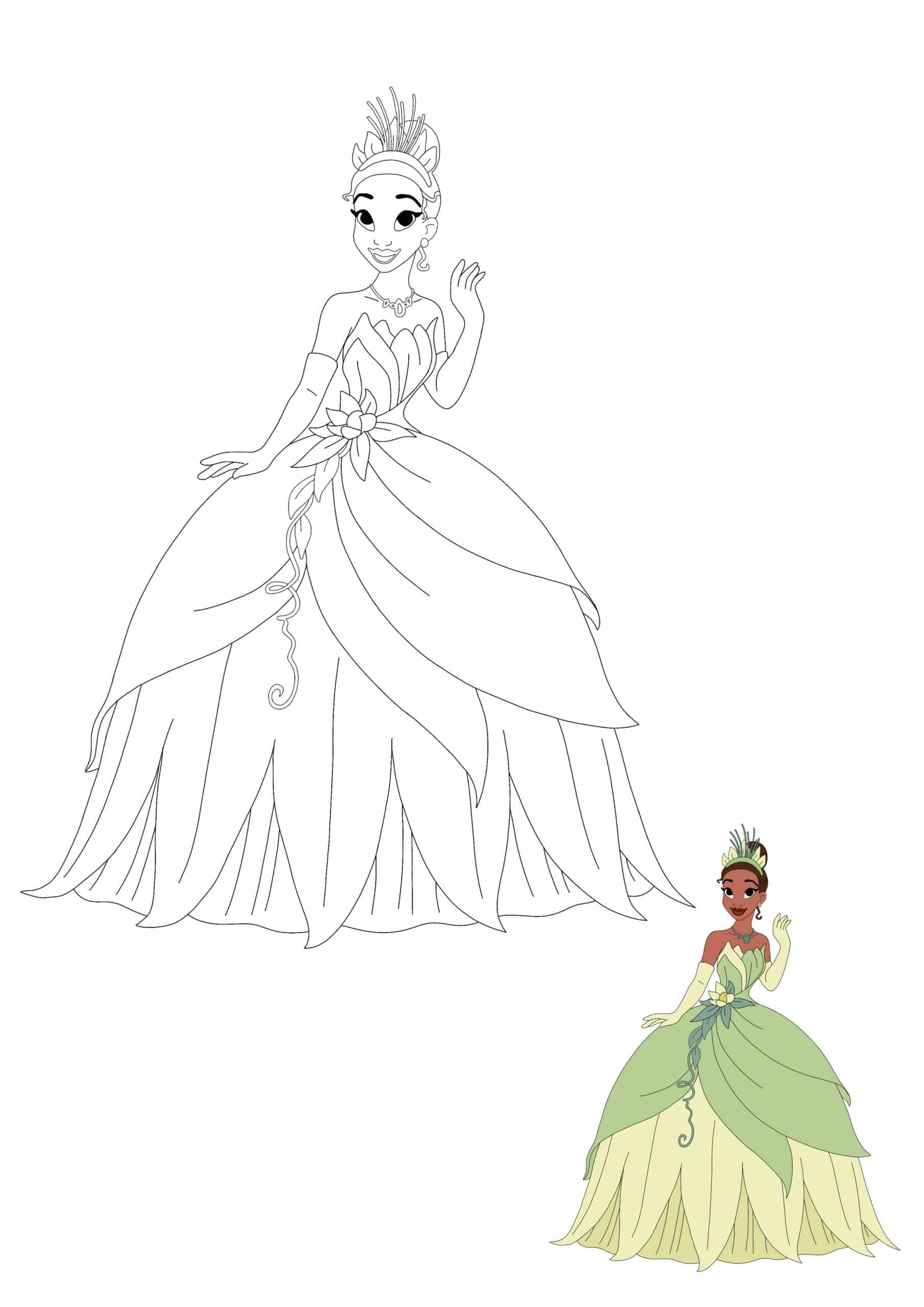 Princess Tiana coloring page for kids