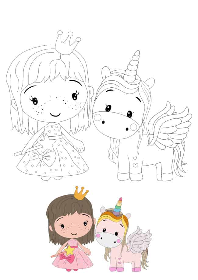Princess and Unicorn easy coloring page