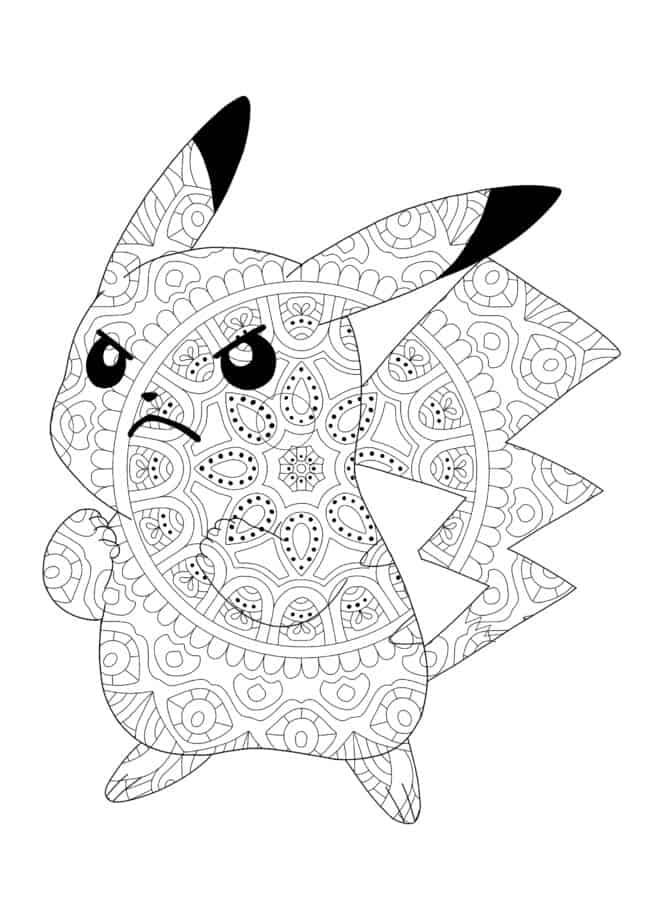 Angry Pokemon Pikachu Mandala coloring page
