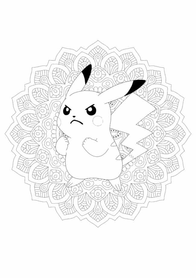 Angry Pikachu Mandala coloring page
