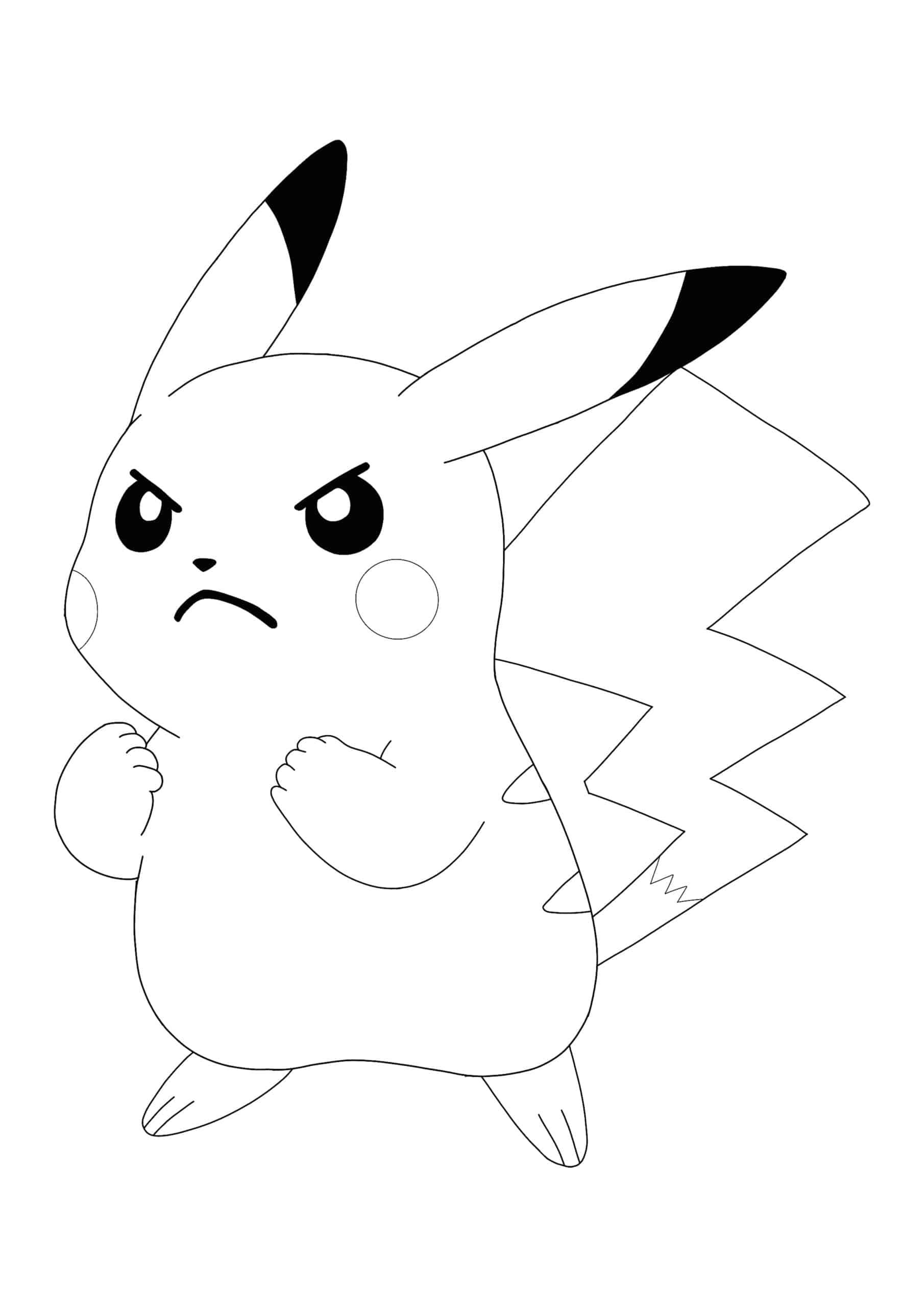 Angry Pokemon Pikachu coloring page