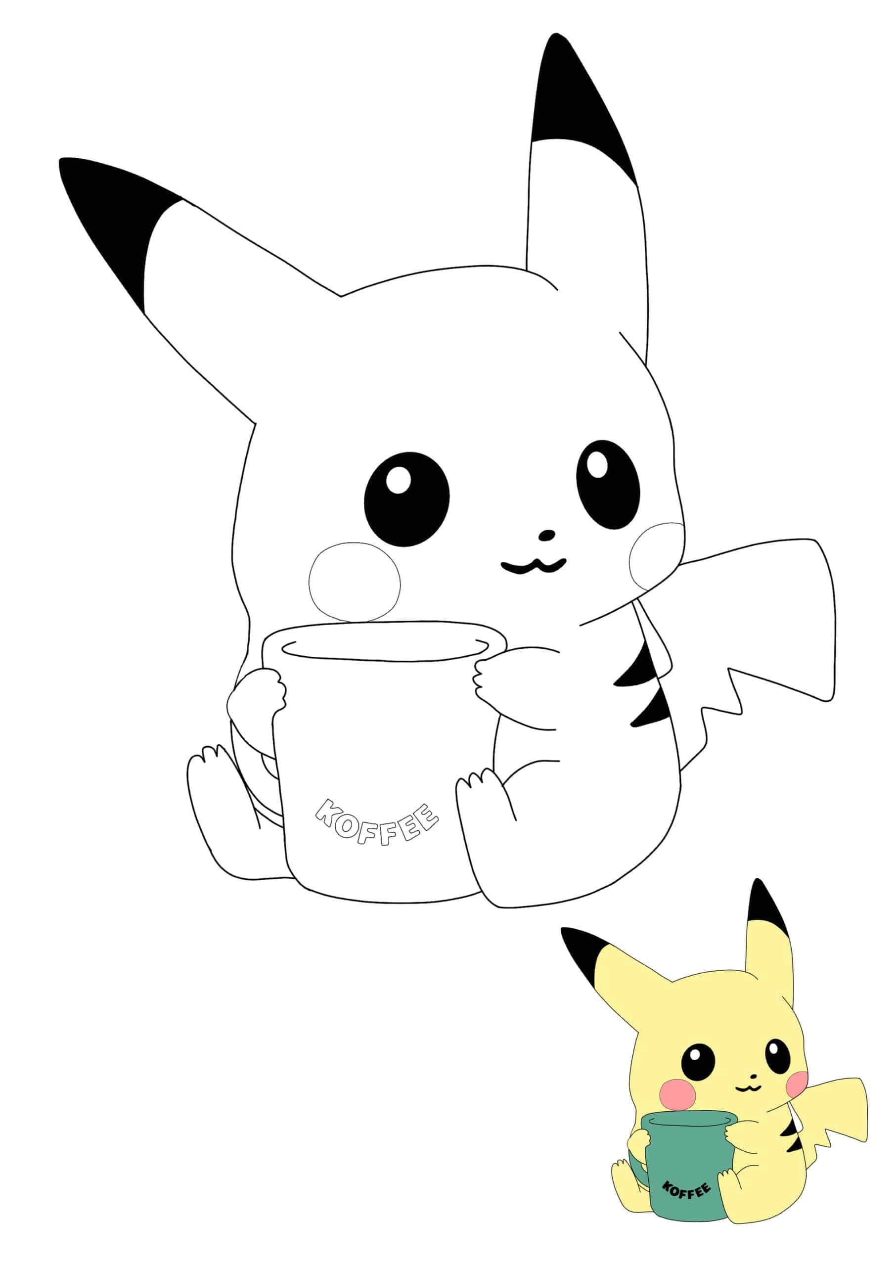Cute Baby Pikachu with coffee mug coloring page