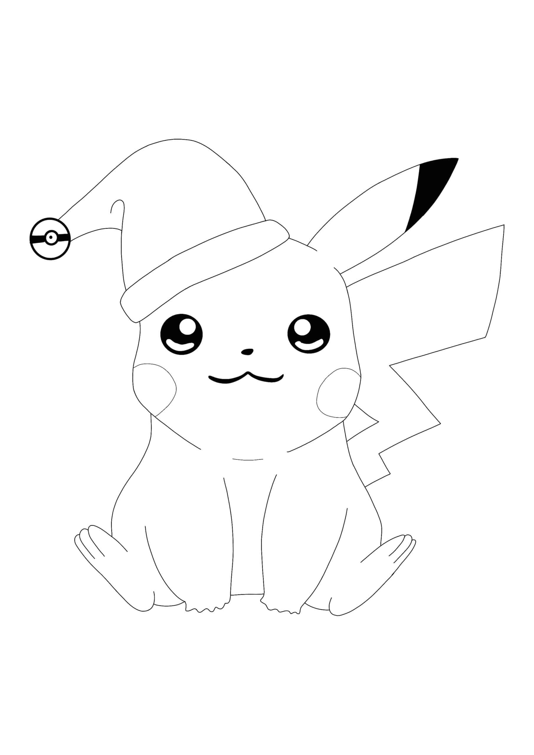 Christmas Pikachu coloring page
