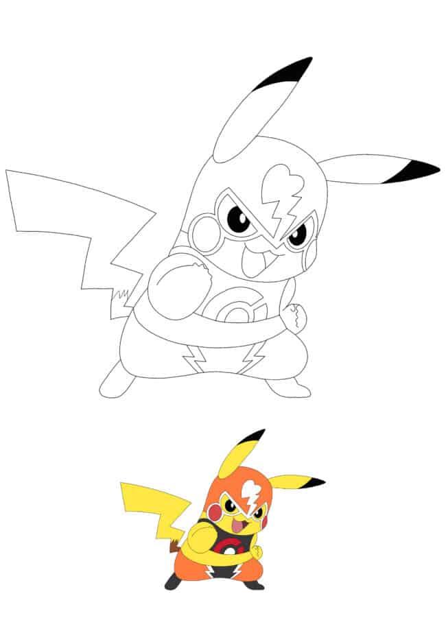 Pikachu Wrestler free printable coloring page