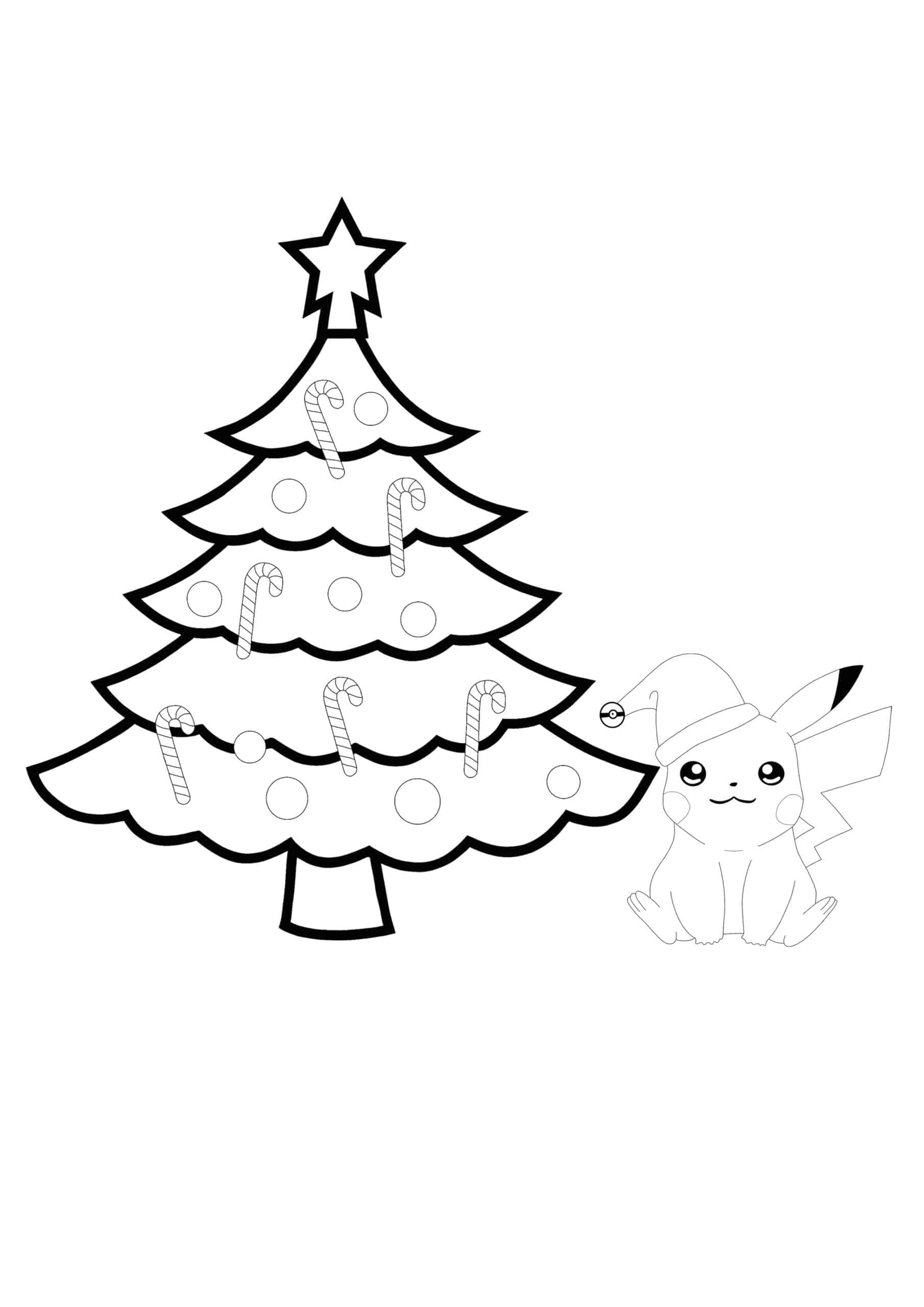 Pikachu and Christmas Tree coloring page
