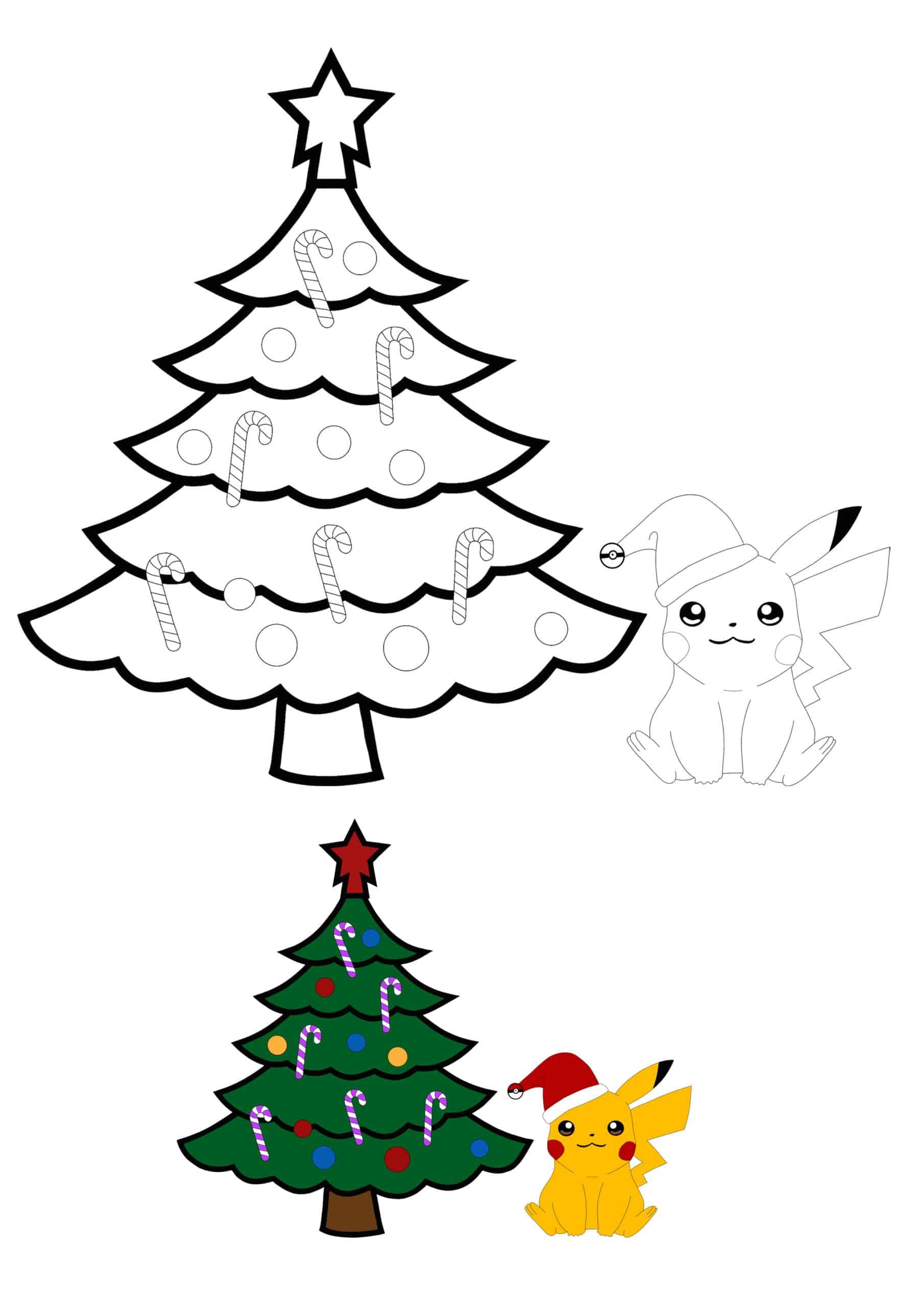 Pikachu and Christmas Tree colouring sheet