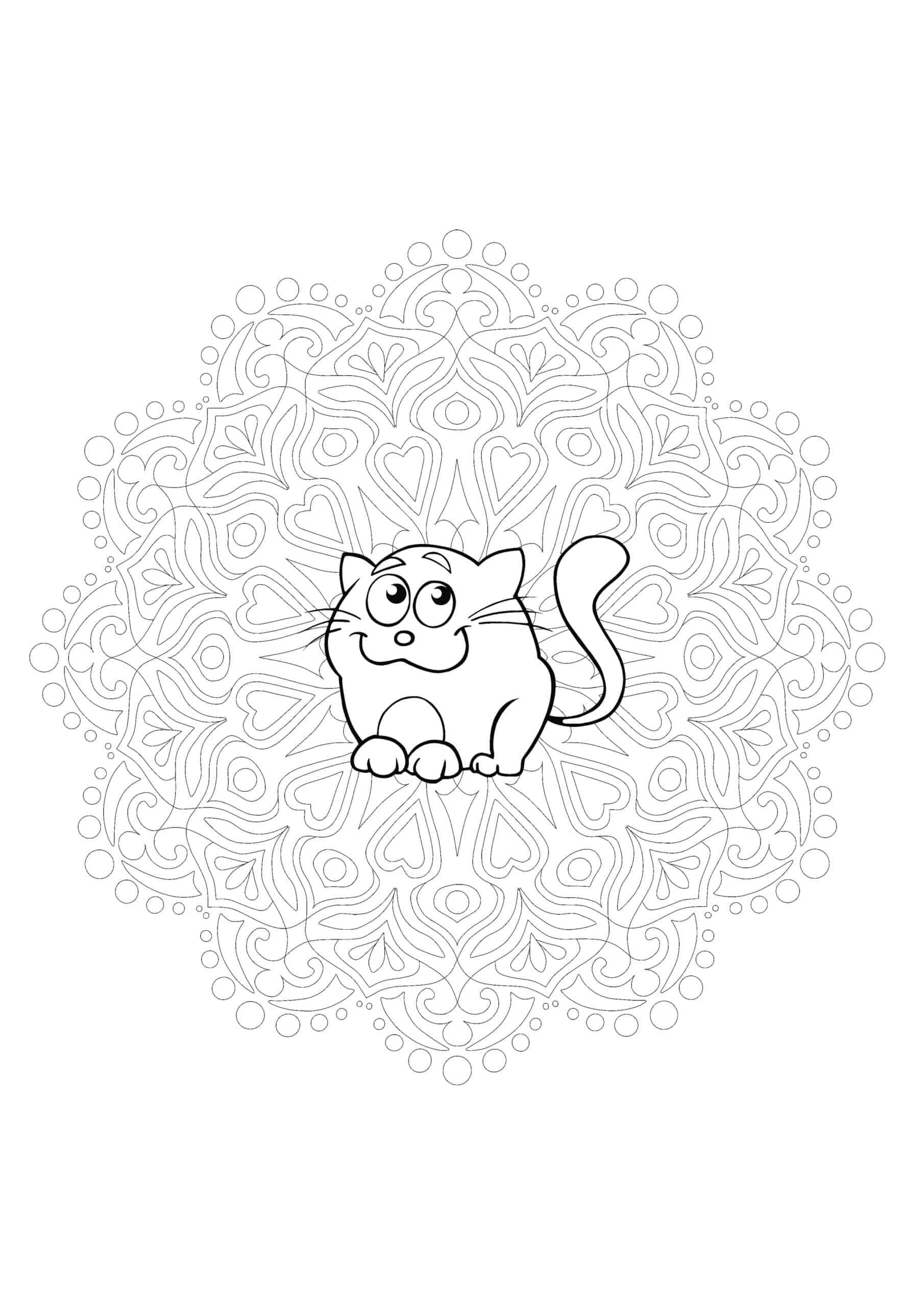 Cat Mandala coloring page