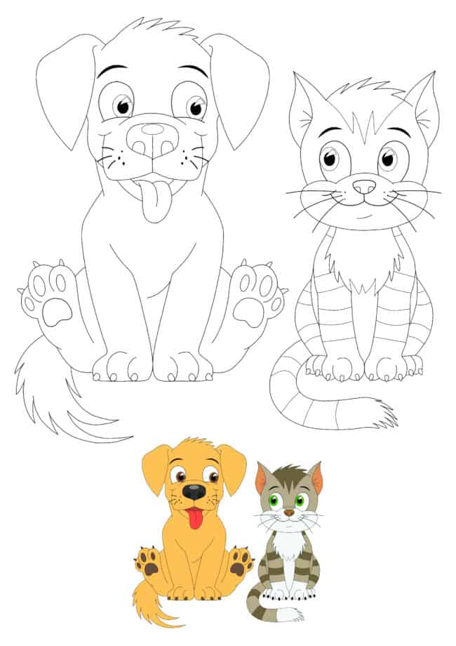 Cat and Dog free printable coloring page