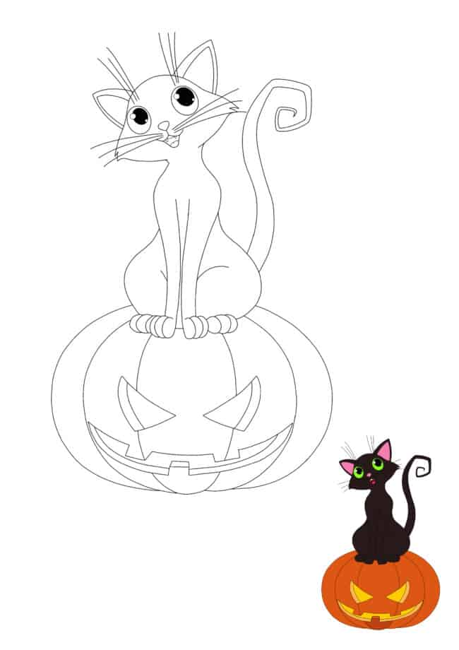 Halloween Cat free printable coloring page