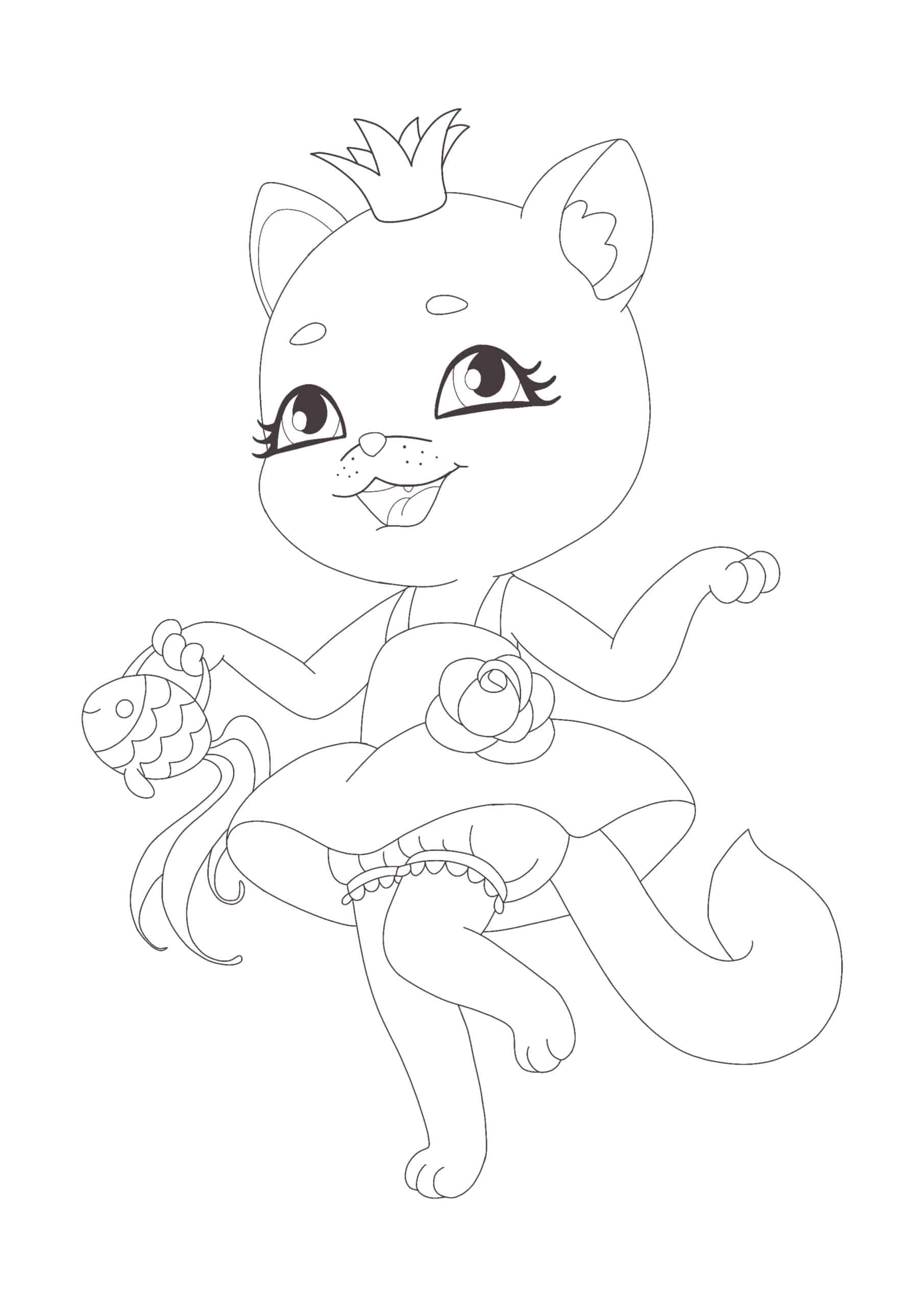 Coloriage Chat Princesse