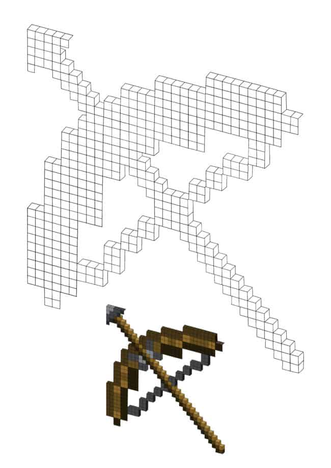 Minecraft Bow And Arrow coloring page for boys and girls