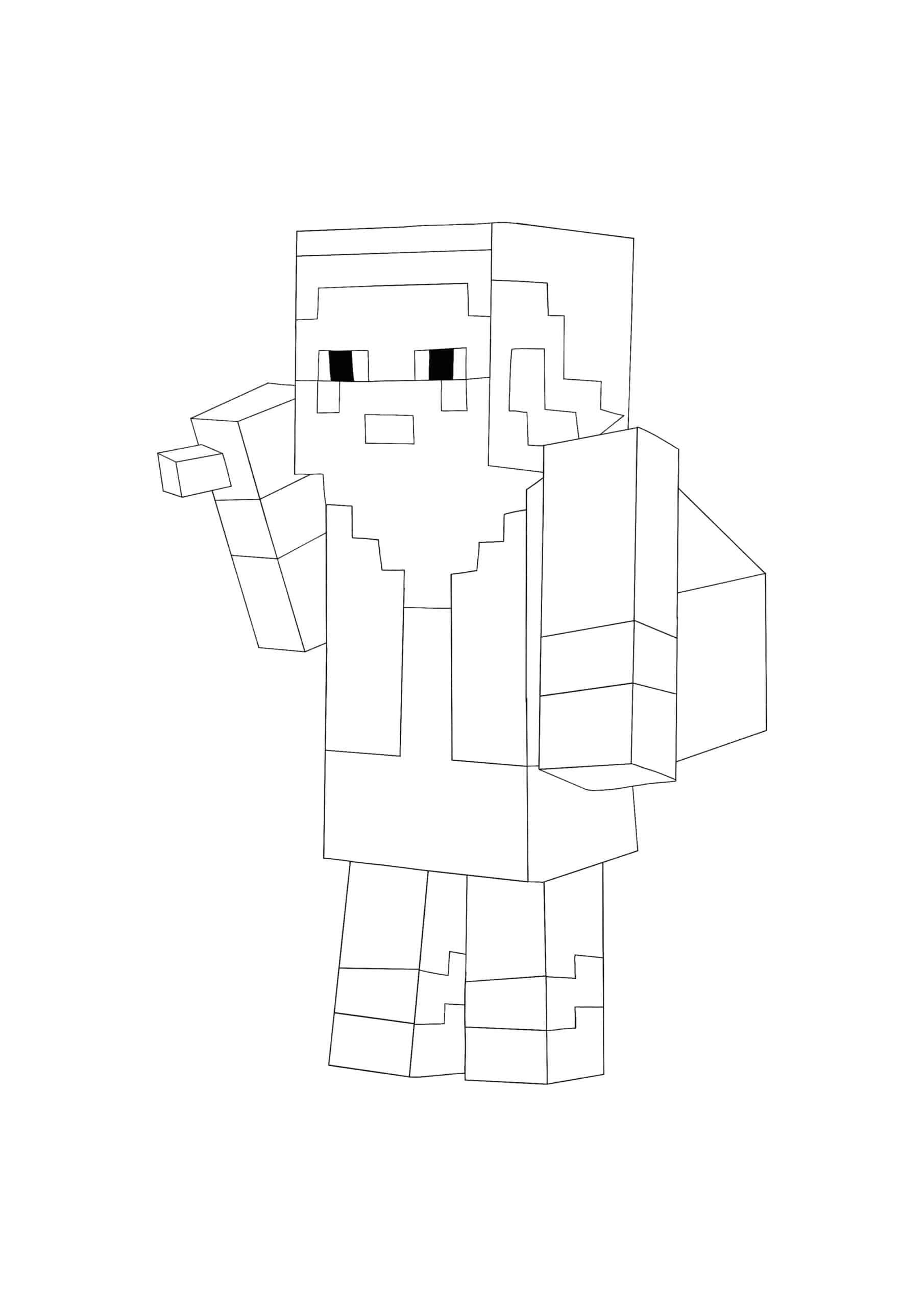 Coloriage Minecraft Christmas Mob - Père Noël