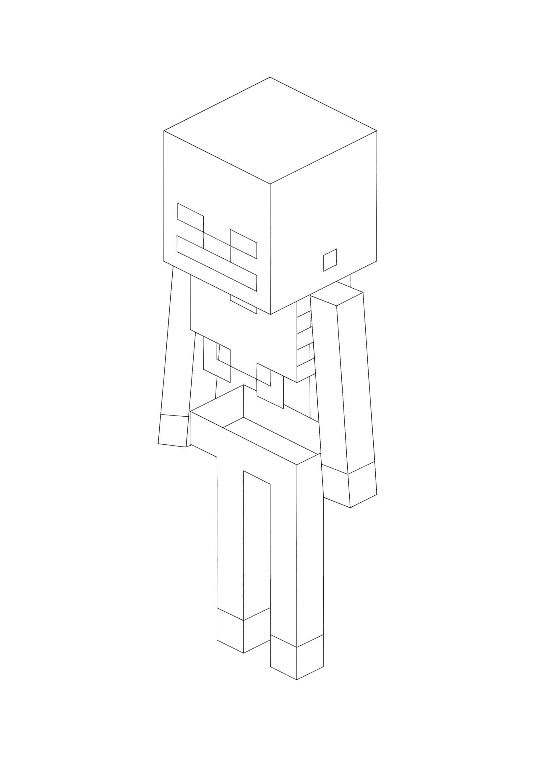 Coloriage Minecraft Squelette