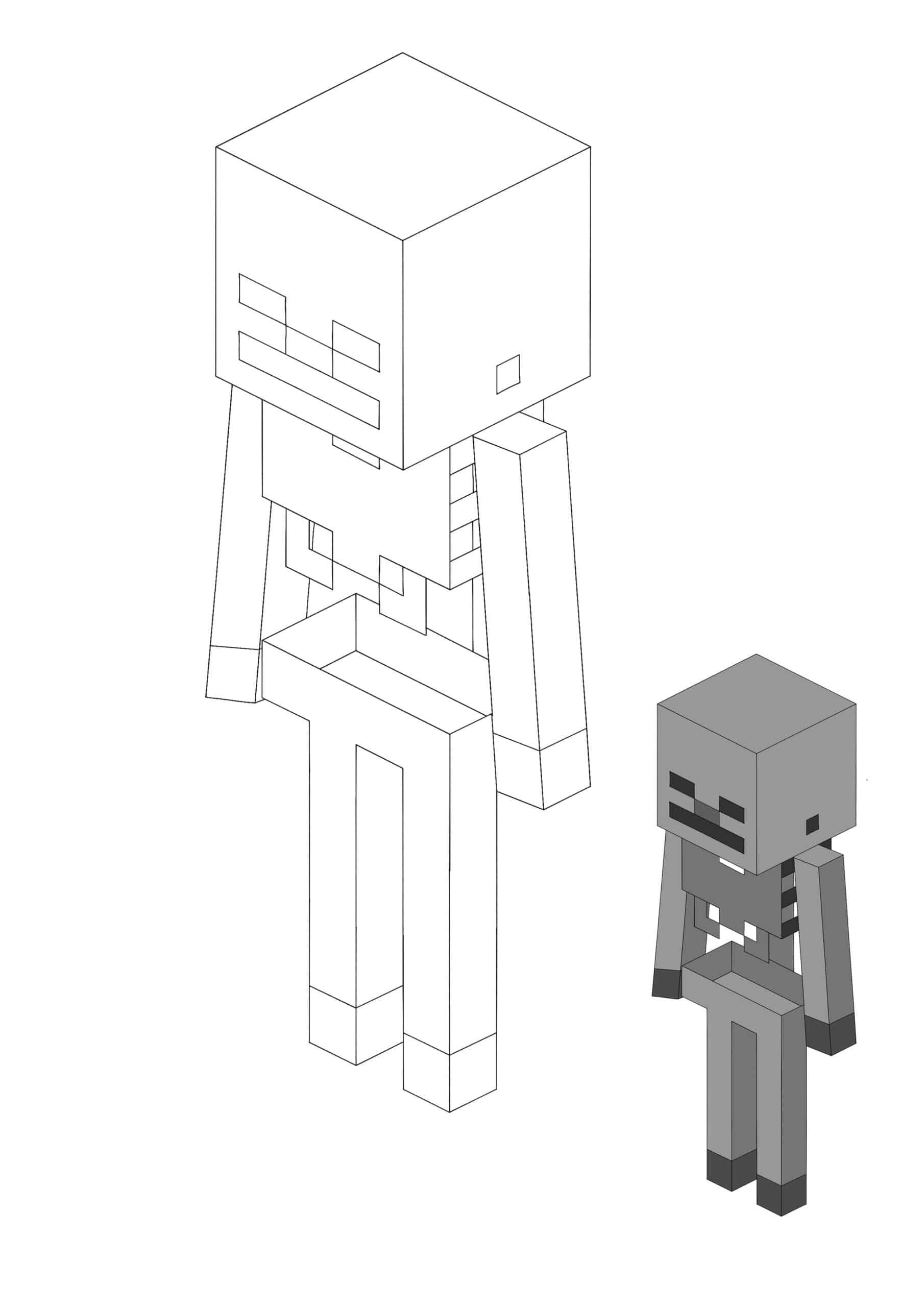 Minecraft Skeleton printable coloring sheet