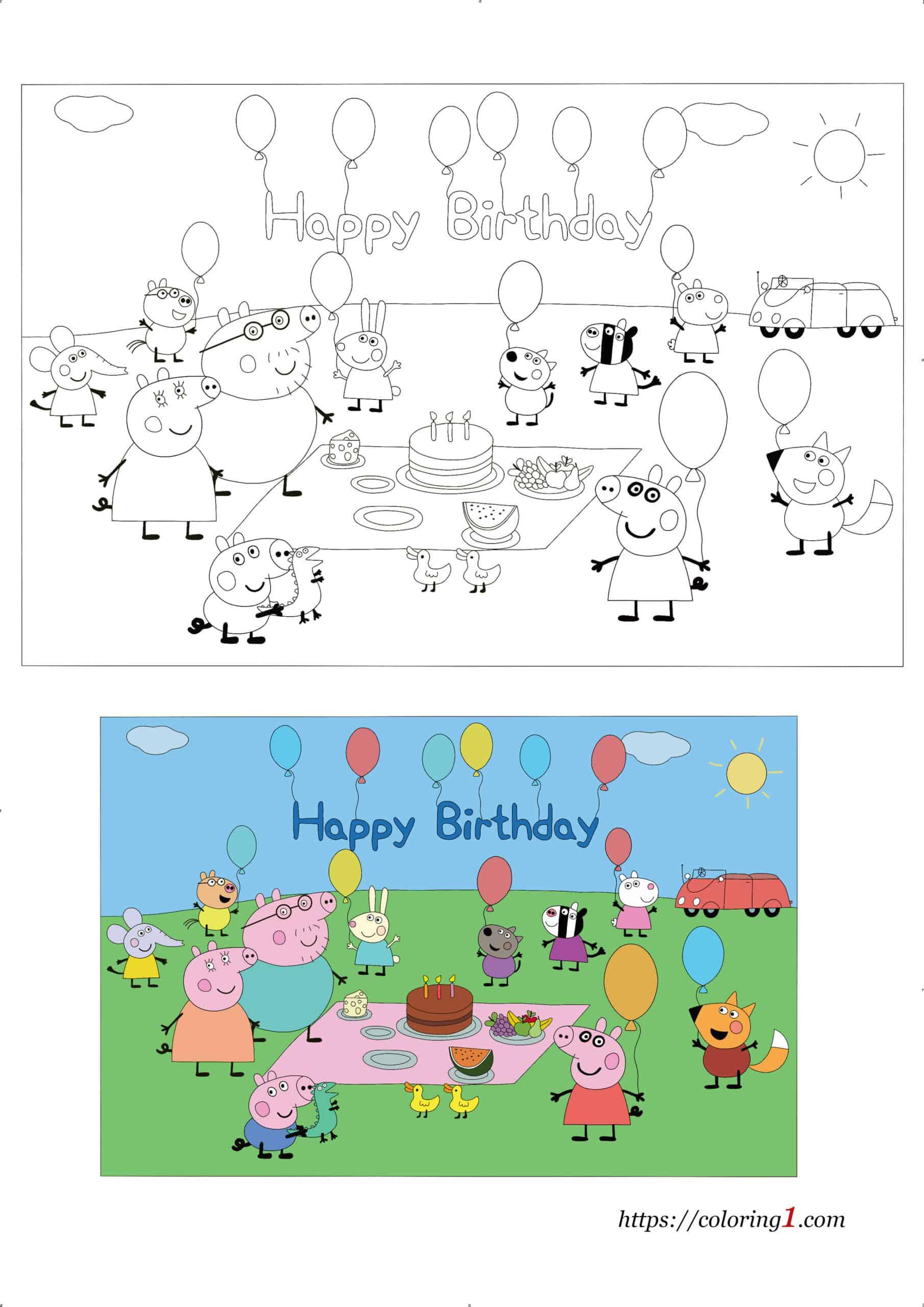 Happy Birthday Peppa Pig printable coloring page