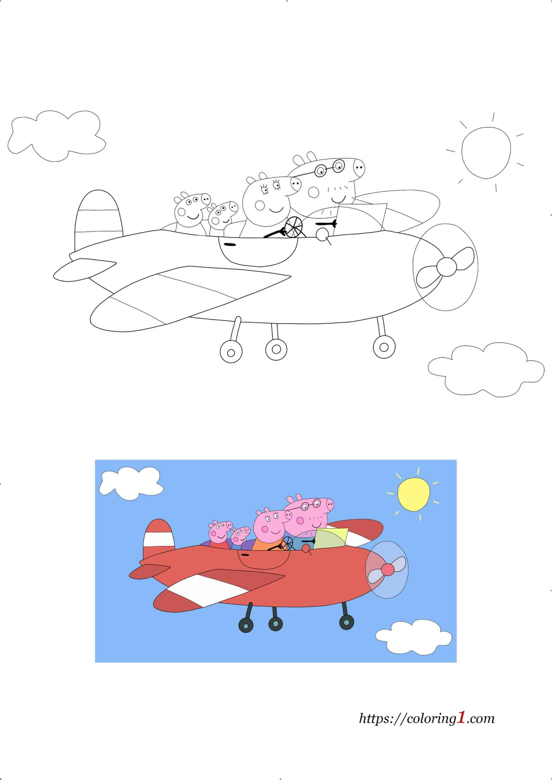 Peppa Pig Airplane free printable coloring page