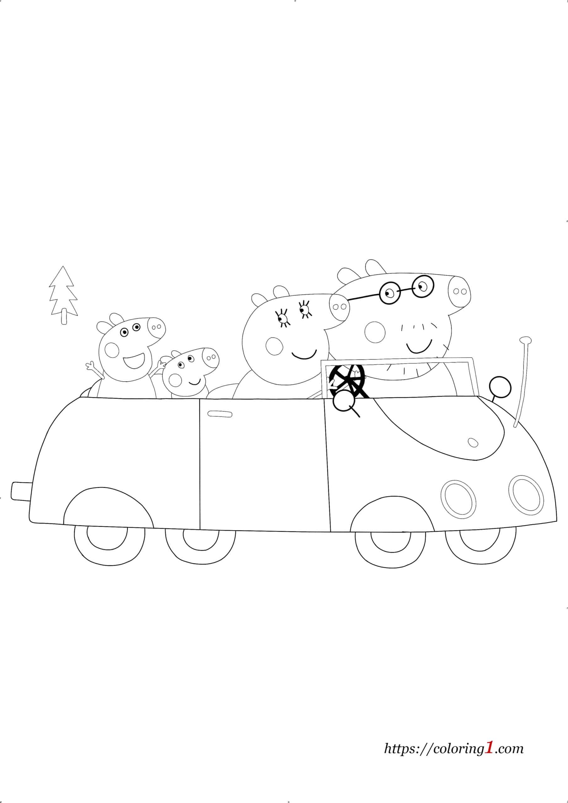 Peppa Pig Car coloring page