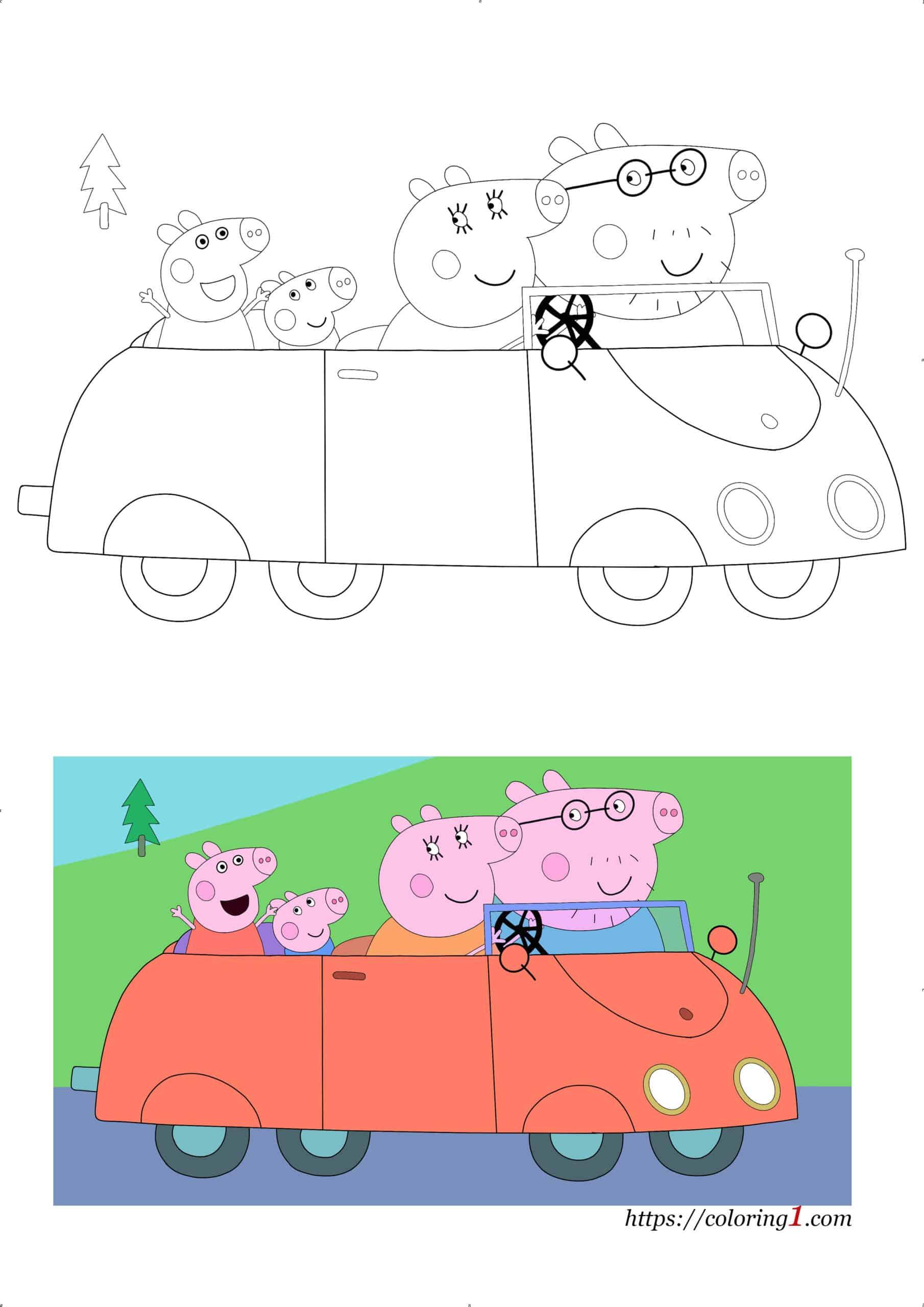 Peppa Pig Car printable coloring page for kids