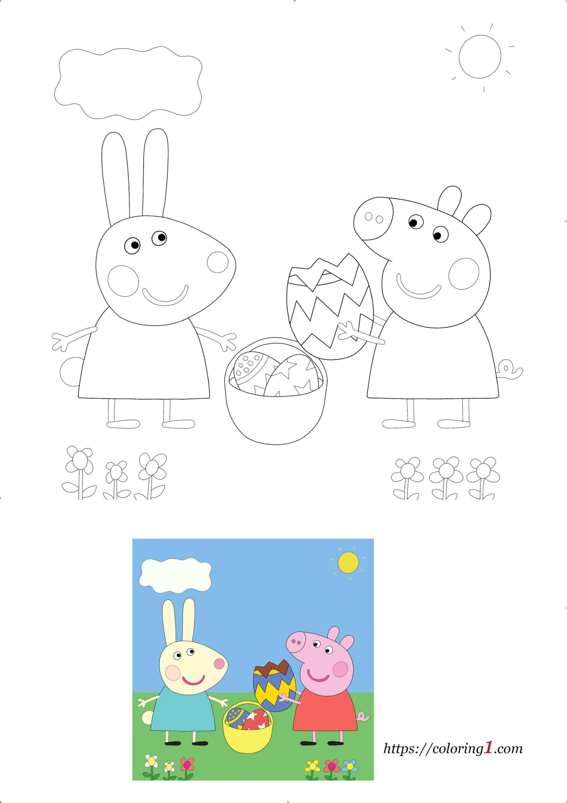 Coloriage Dessin Peppa Pig de Pâques À Imprimer Gratuit