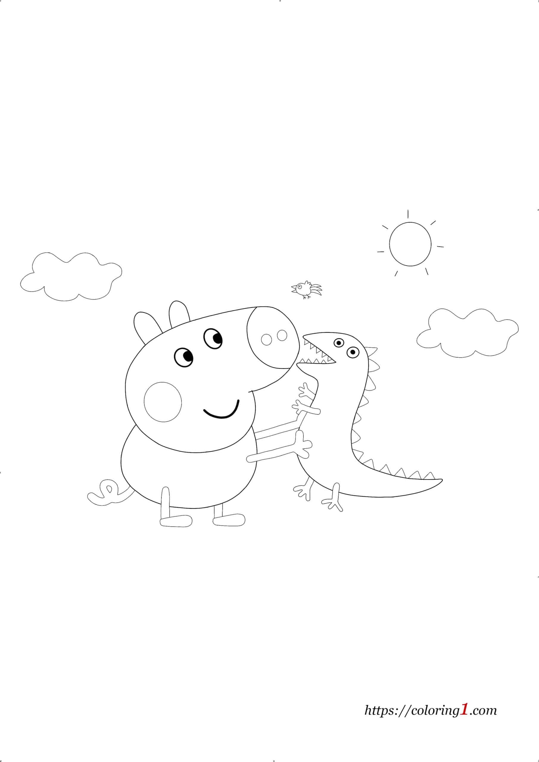 Coloriage Peppa Pig George avec Dinosaure
