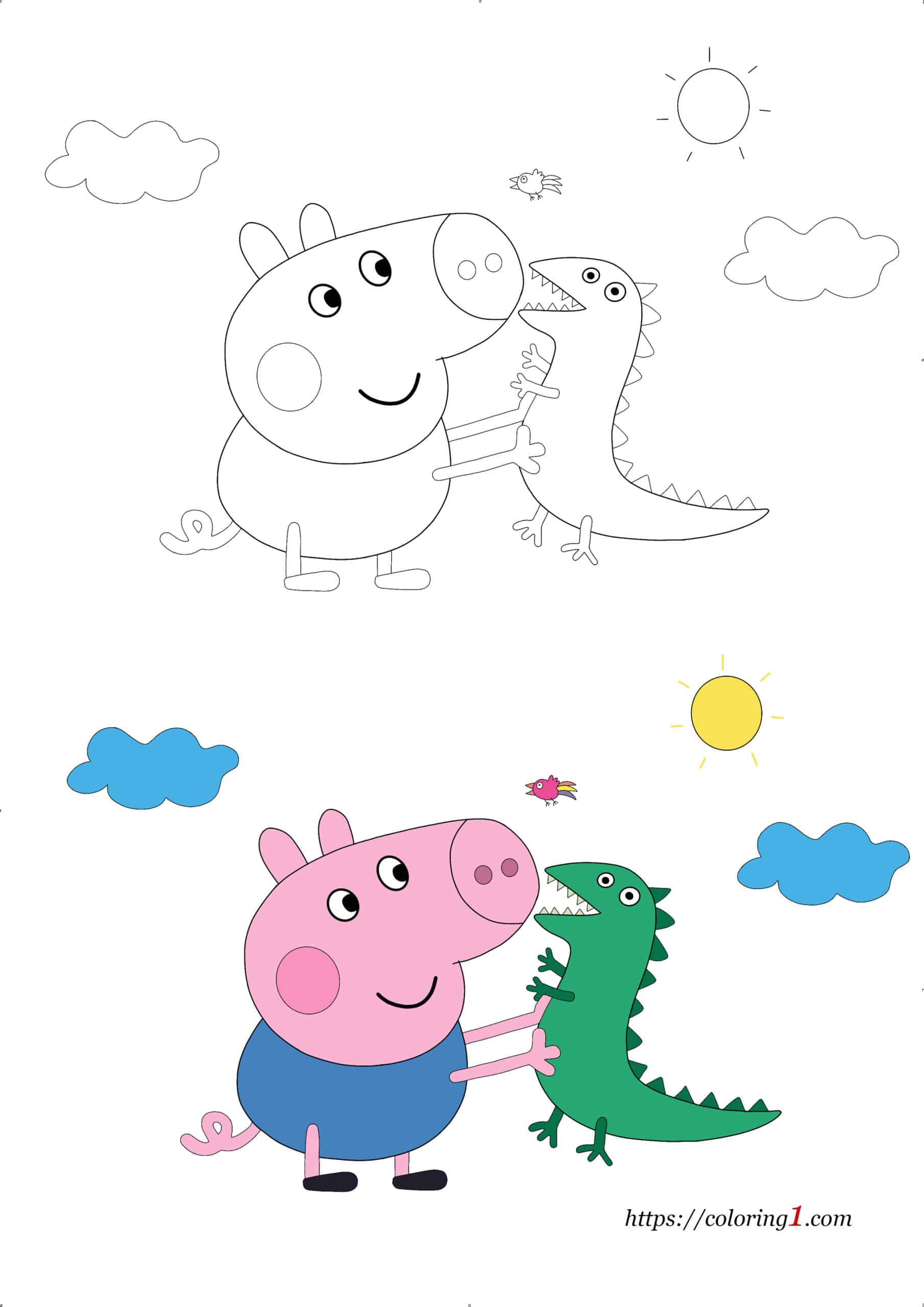 Coloriage Dessin Peppa Pig George avec Dinosaure
