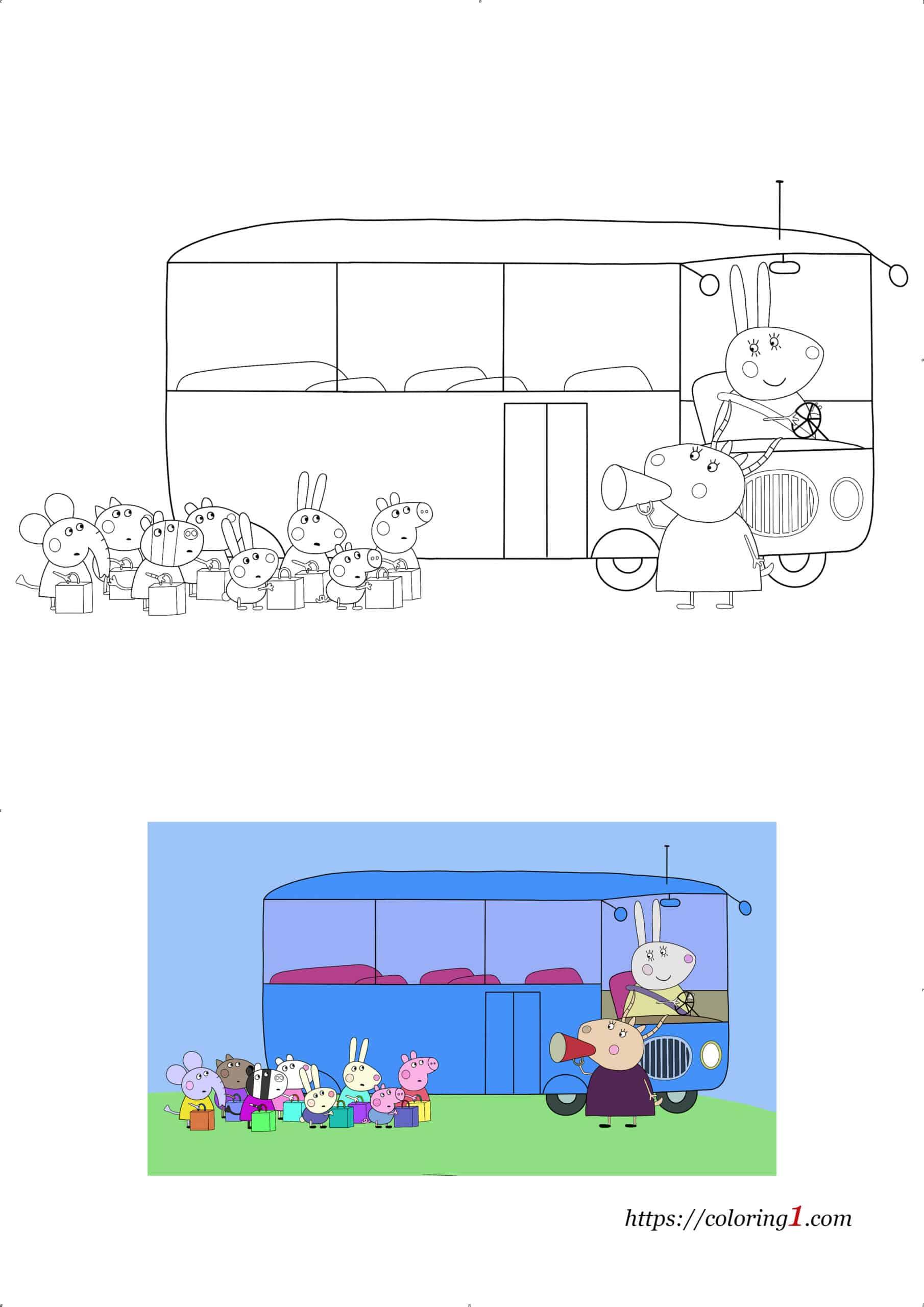 Peppa Pig School Bus coloring page pdf