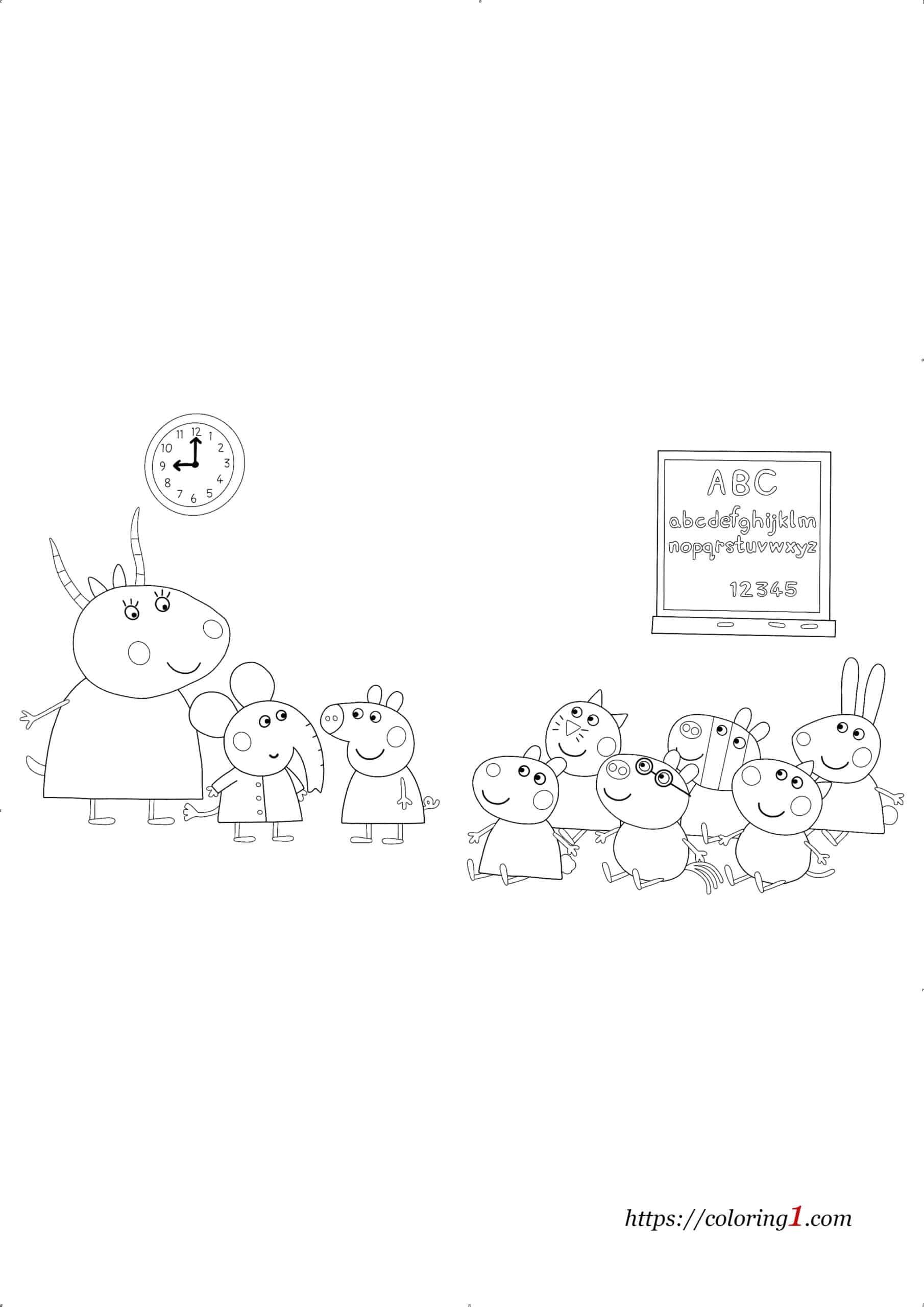 Peppa Pig School coloring page