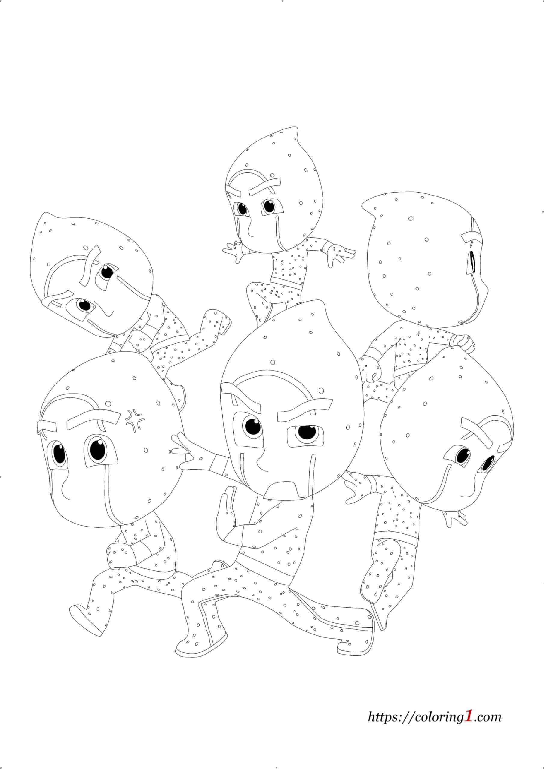 Coloriage Pyjamasque Ninjaka et Ninjazouaves