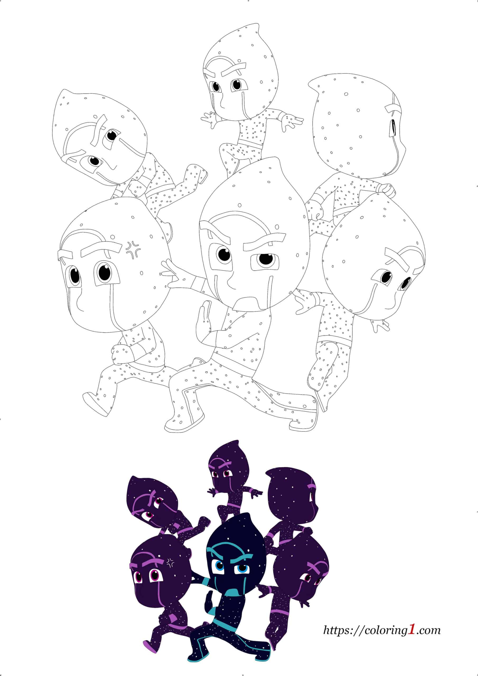 Pj Masks Night Ninja and Ninjalinos coloring page for kids