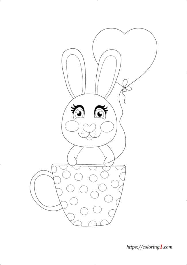 Cartoon Rabbit With Heart Balloon coloring page