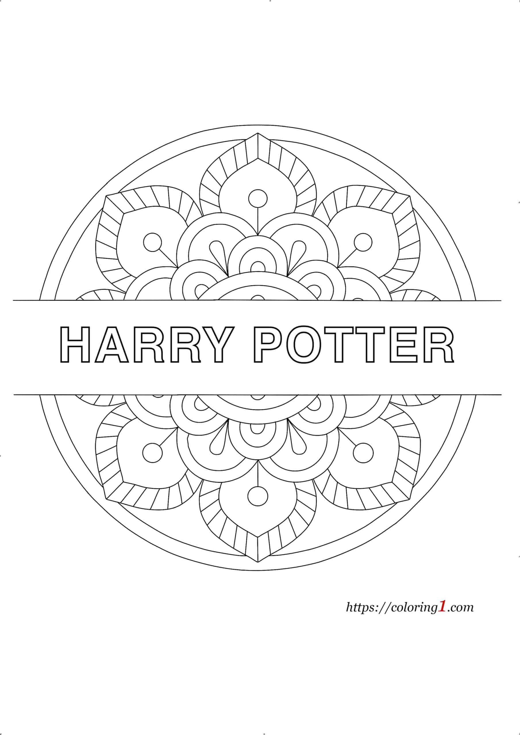 Easy Harry Potter Mandala coloring page pdf