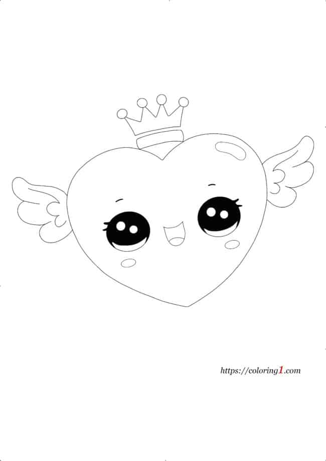 Easy Heart with Crown coloring page