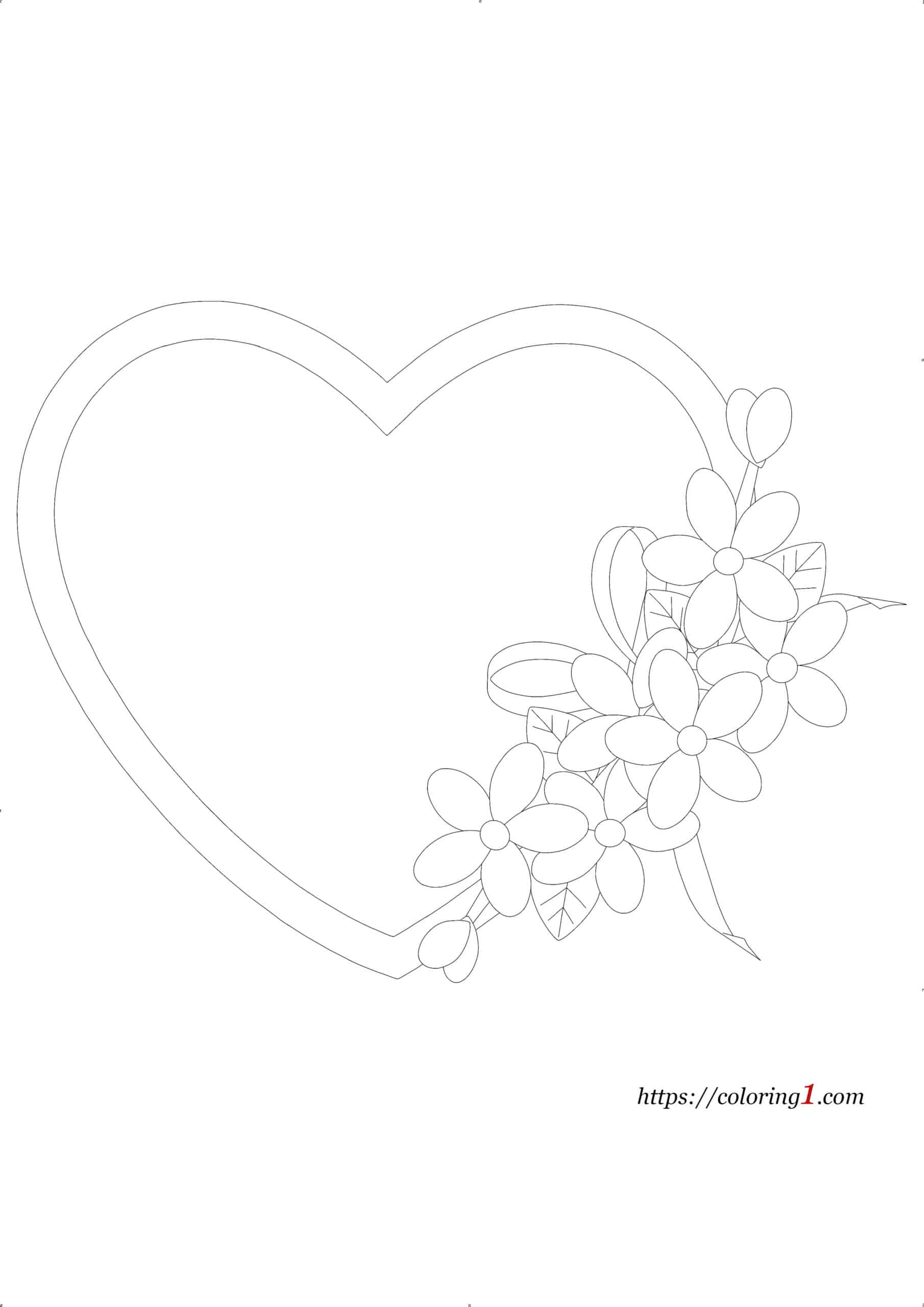 Coloriage Coeur Fleur